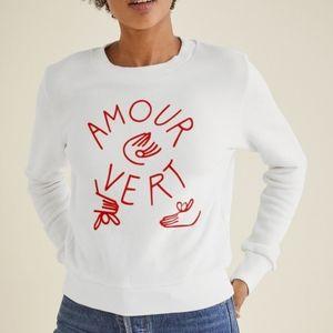 NWT Amour Vert Hands Logo Sweatshirt Size M White